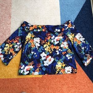 Banana Republic Off the Shoulder Floral Shirt
